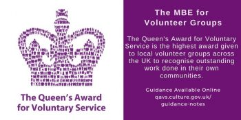 Logo for the Queen's Award for Voluntary Services