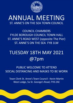 Poster for notice of Annual Meeting on Tuesday 18th May 2021 at Fylde Council Town Hall at 7pm.