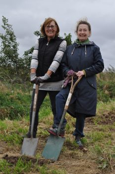 St. Anne's Town Councillor Joanne Gardner and Volunteer Helper Fran Crowther at seed planting near Wildings Lane 2021