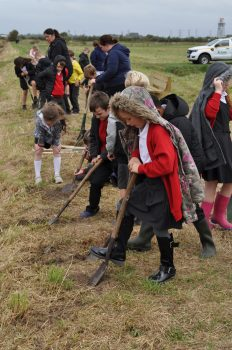 School Children from Clifton Primary helping plant the seeds near Wildings Lane 2021